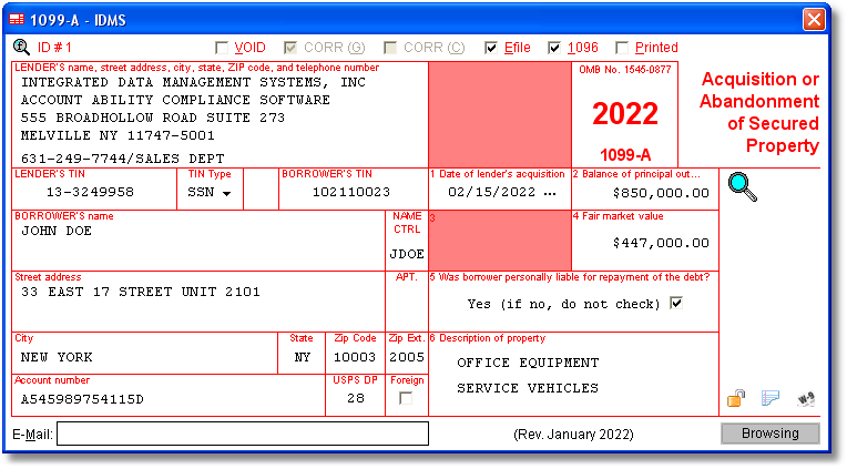 Account Ability 1099-A Compliance Software