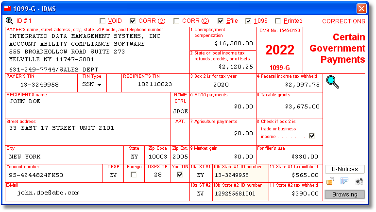 Account Ability 1099-G Compliance Software