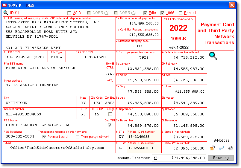Account Ability 1099-K Compliance Software