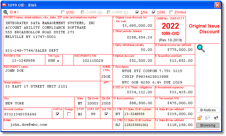 Account Ability 1099-OID Compliance Software