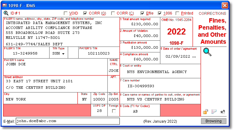 1098-F Compliance Software